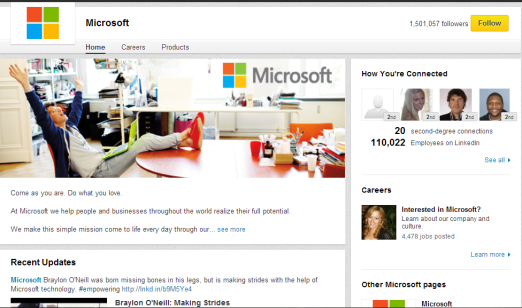 microsoft company page